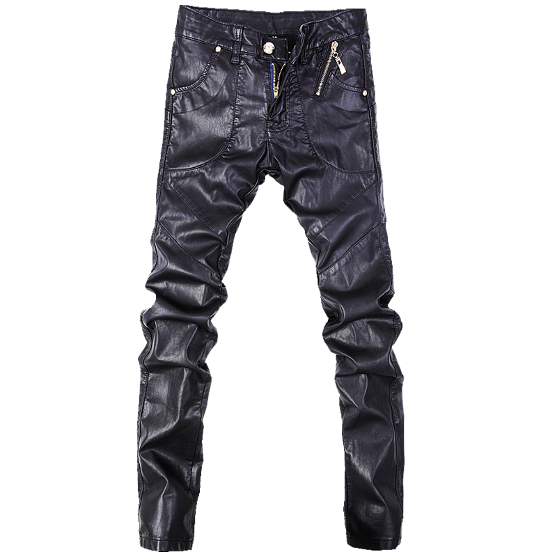 Fashion men jeans pants skinny leather motorcycle straight trousers size 28-38 A102 grey 2015 spring male personality splice skinny pants the trend straight trousers slim long trousers thin men skinny jeans