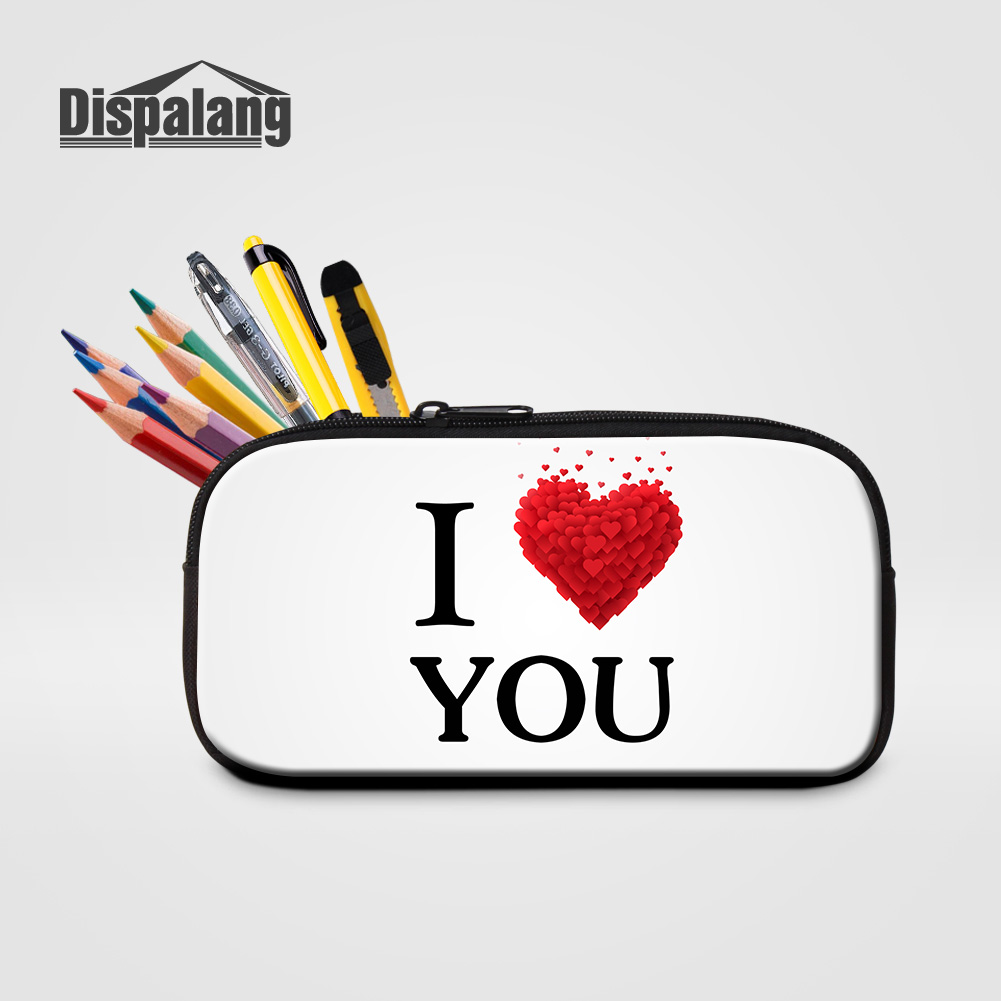 Dispalang I Love You Printing Cute School Supplies Pencil Case For Children Pen Box Bag Women Small Cosmetic Cases Drop Shipping