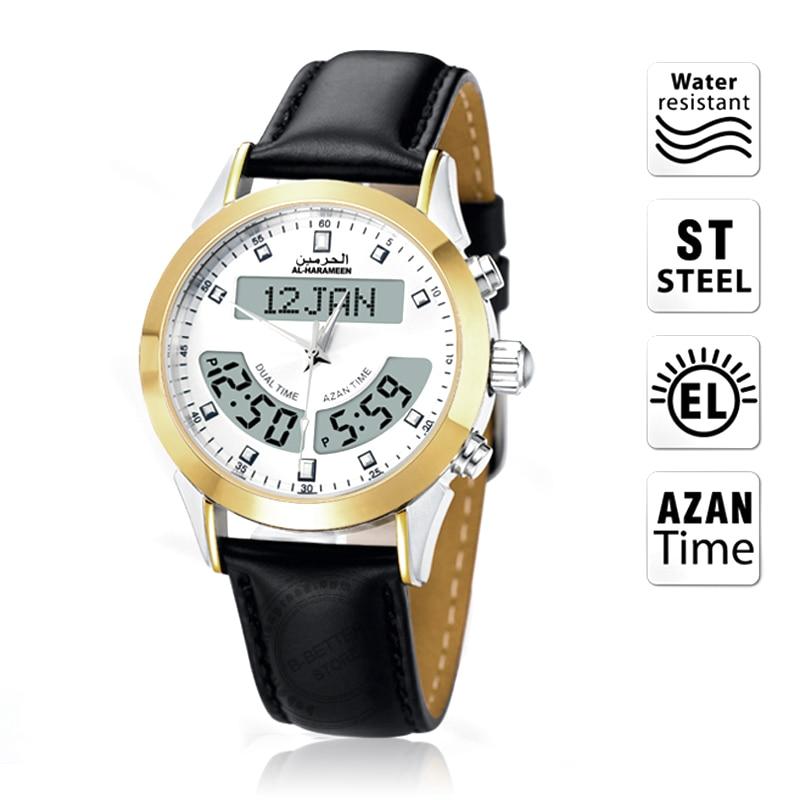 Islamique Azan montre 6102WK musulman montre doré automatique Iqamah alarme pour toutes les prières islamique prier horloge cadeau musulman