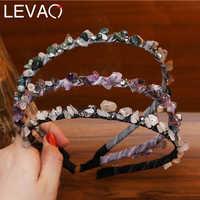 LEVAO Green Crystal Headband for Women Charm Irregular Natural Stone Hairband Handmade Hair Bands Hoop Lady Headdress