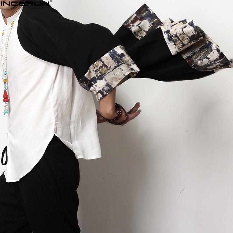 2018 Plus Size Fashion Men Long Outwear Shirts Half Sleeve Irregular Chinese Style Retro Male Cloak Coats Stylish Casual Trench 5