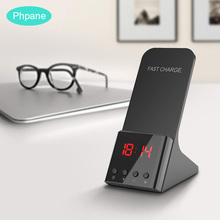 Alarm Clock 10W Qi Fast Wireless Charger Stand Wireless Induction Charging For Apple IPhone X Samsung Galaxy S10  Huawei P30 Pro