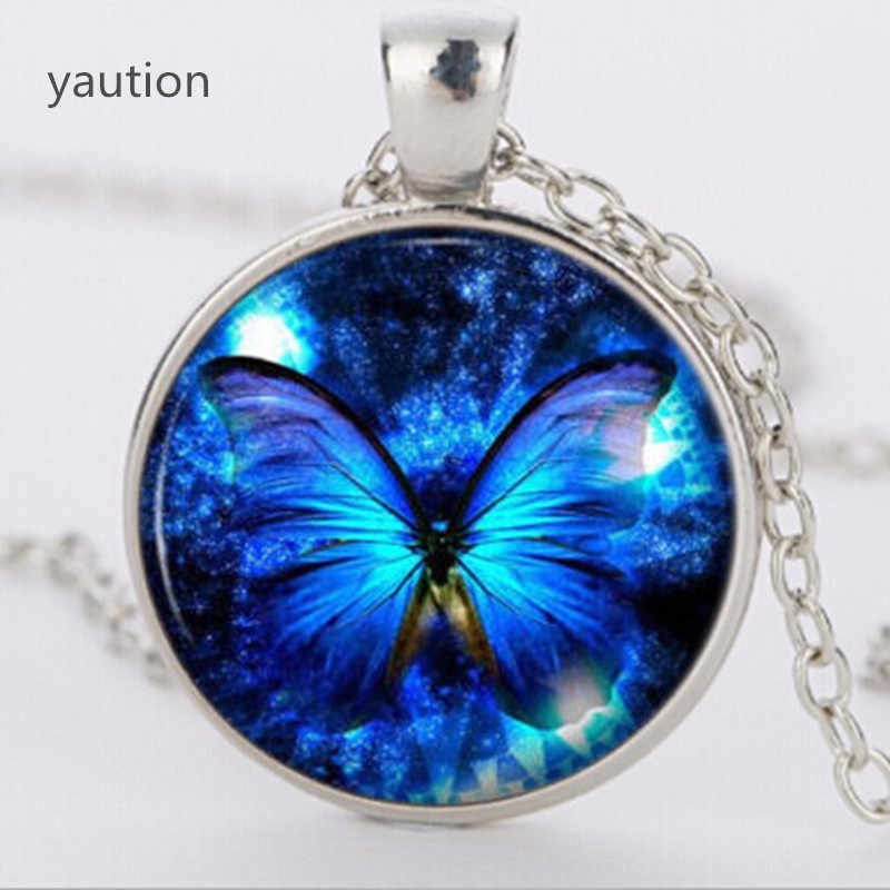 Blue Butterfly Pendant Necklace fashion vintage Glass pendant dome Cabochon Round Pendant steampunk necklace Jewelry