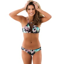 Women Bikini Hollow Out High Neck Push Up Floral