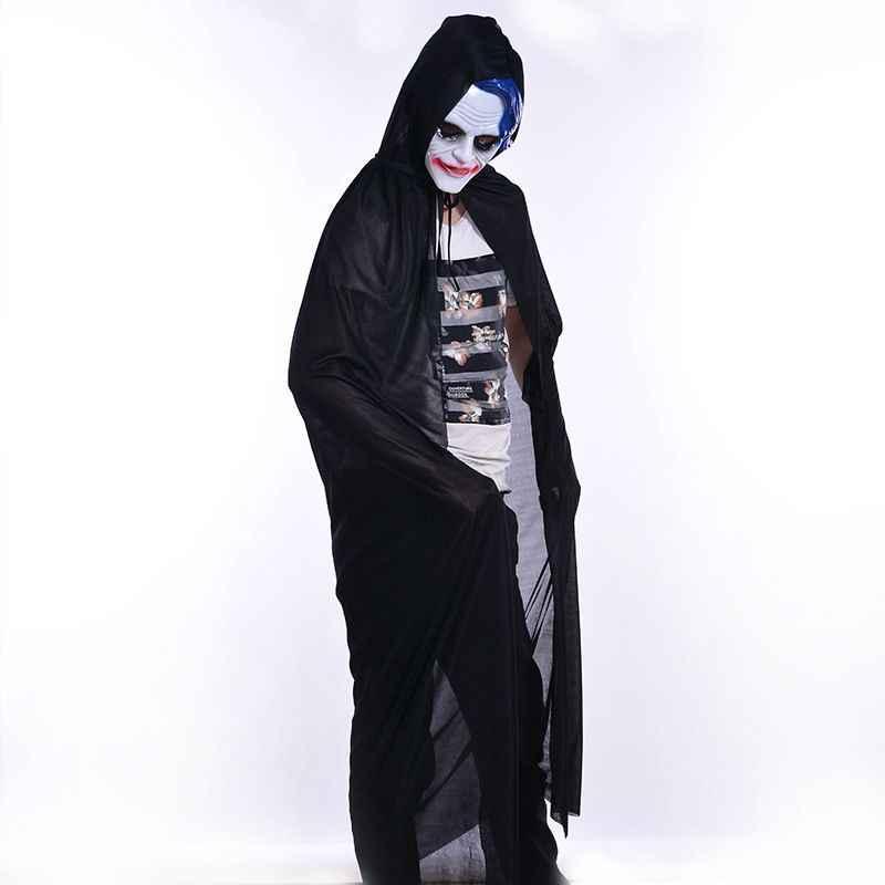 Черный плащ для Хэллоуина, длинный плащ с капюшоном для взрослых и детей (135 см)