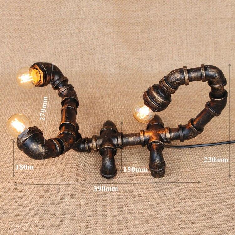 Iwhd Лофт Промышленные настольная лампа Винтаж Творческий Скорпион водопровод рядом с Настольные лампы декоративные abajour
