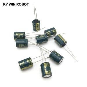 Image 1 - 10 قطع الألومنيوم مُكثَّف كهربائيًا 680 فائق التوهج 25 فولت 10*13mm frekuensi tinggi شعاعي كهربائيا kapasitor