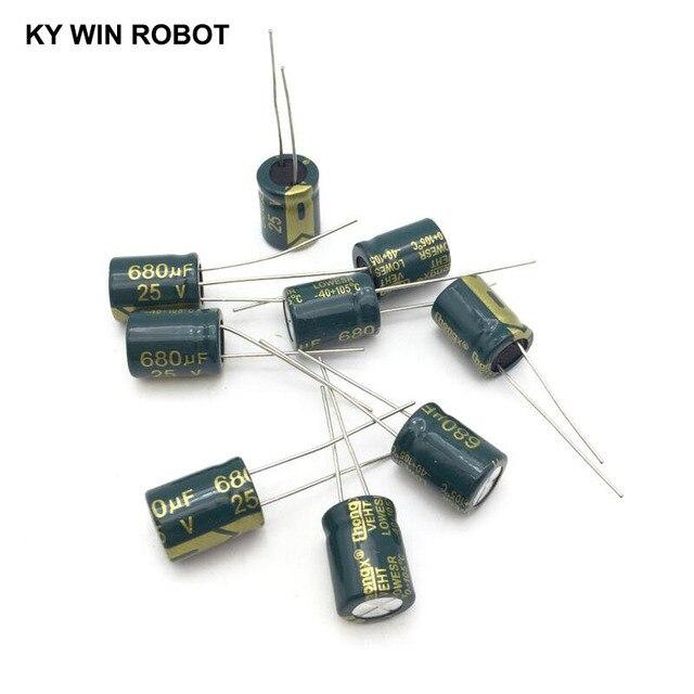 10 قطع الألومنيوم مُكثَّف كهربائيًا 680 فائق التوهج 25 فولت 10*13mm frekuensi tinggi شعاعي كهربائيا kapasitor