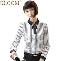 [BLOOM BTF] jesień Kobiety Bluzki Bluzka Stripe Z Długim Rękawem Koszula OL Elegancki Łuk Krawat Krawat Odpinany Formalne Bluzka Biuro Panie