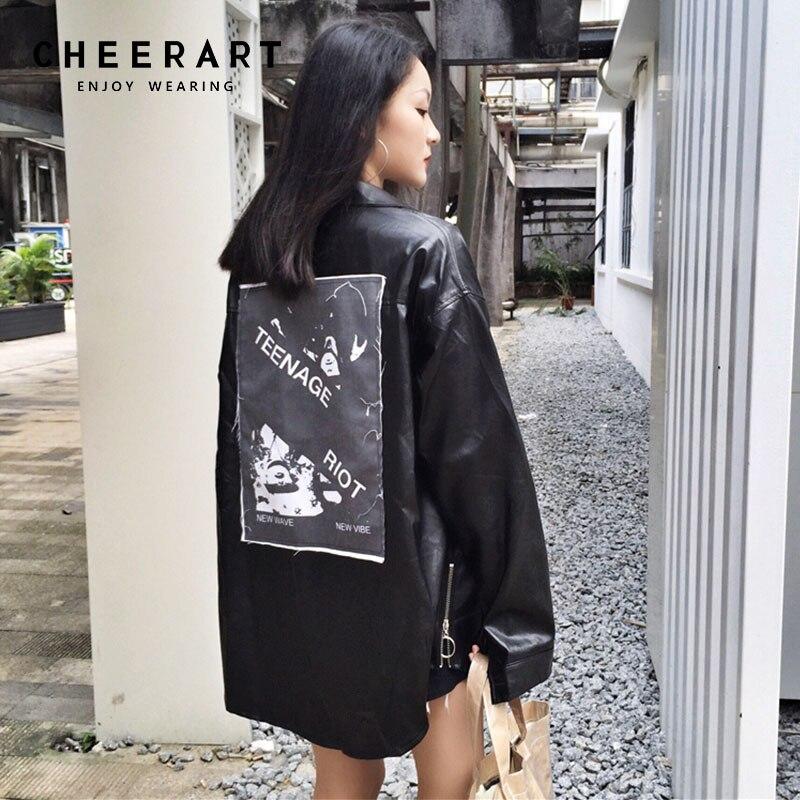 Cheerart Harajuku   Leather   Jacket Women Motorcycle Patches Punk Jacket Black Pu   Leather   Long Sleeve Shirt Coat Fall 2018