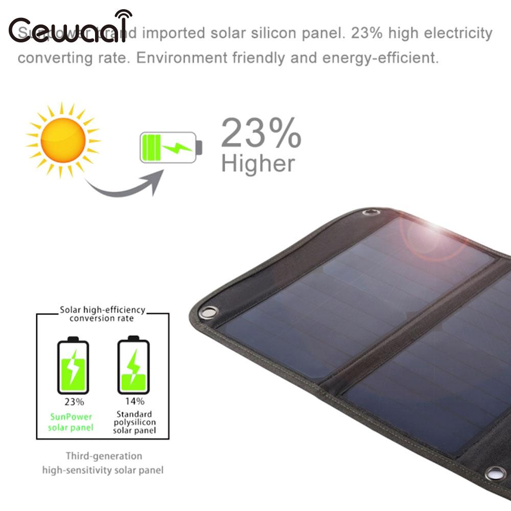 Cewaal Folding Solar Panel 5V 28w Monocrystalline 2 USB Output Mobile Phone Phone Charger Portable Durable цена и фото