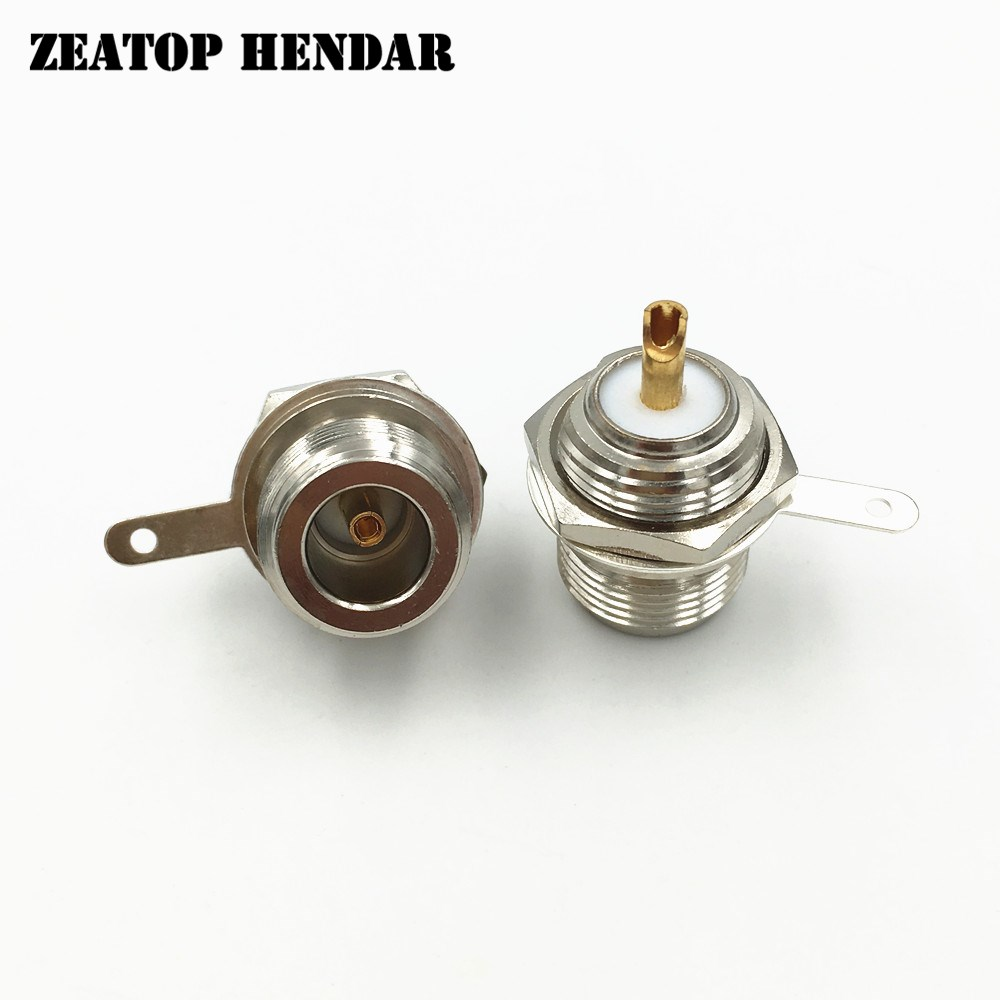 50Pcs Brass N Type Female Jack Bulkhead Solder Panel Mount Straight RF Coaxial Connector High Quality