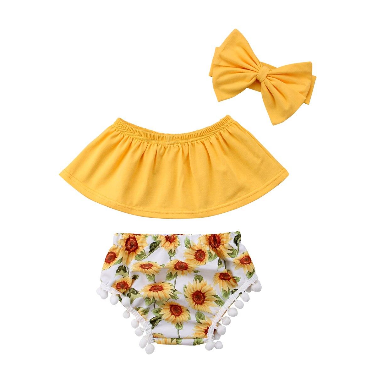 16925868528 Summer Toddler Baby Girls Outfit Off Shoulder Tops+ Sunflower Tassel Floral  Short +Headband 2018