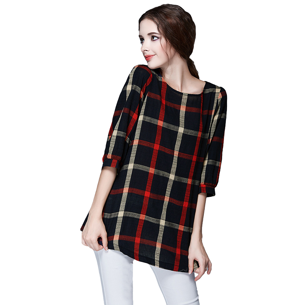 4XL 5XL Plus Size Fashion Women Blouse O Neck 3/4 Sleeve Plaid Shirt Casual Vint