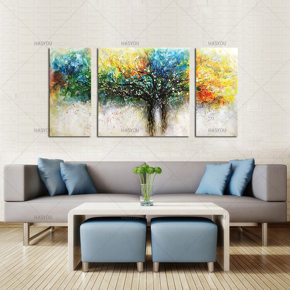 100 Handmade Wall Art Decorative Colorful Life of Tree Picture Hand Painted Canvas Art Oil Painting