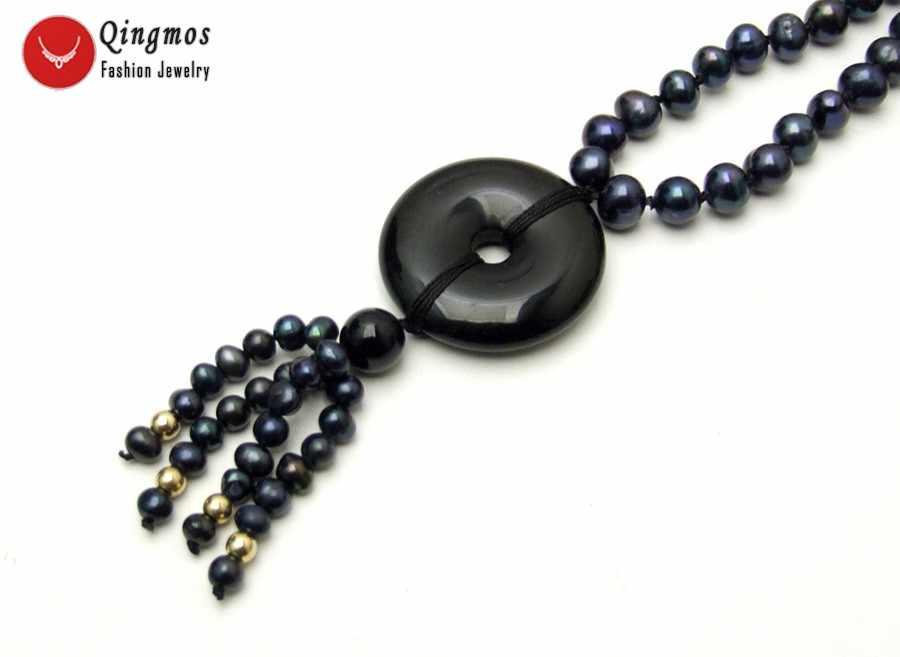 Qingmos 6mm Rodada Colar de Pérolas Negras Naturais para As Mulheres com Donuts Forma 30mm Ágatas Pretas Colar Pingente Gargantilhas jóias