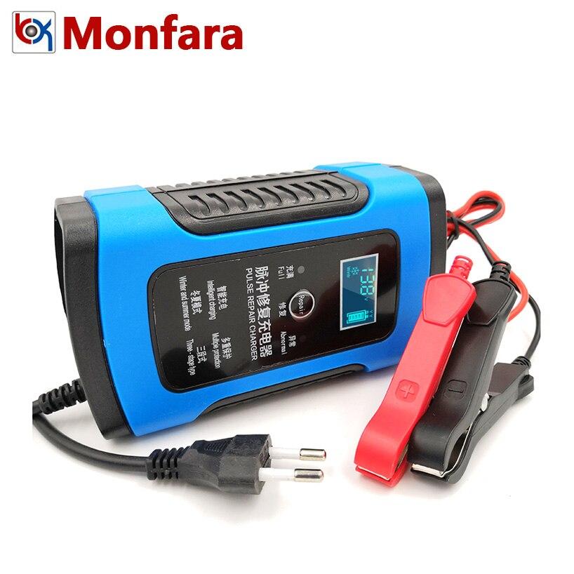 12 V 6A LCD rápido inteligente cargador de batería de coche para Auto de la motocicleta de plomo-ácido AGM GEL baterías de Carga inteligente 12 V voltios 6 AMP