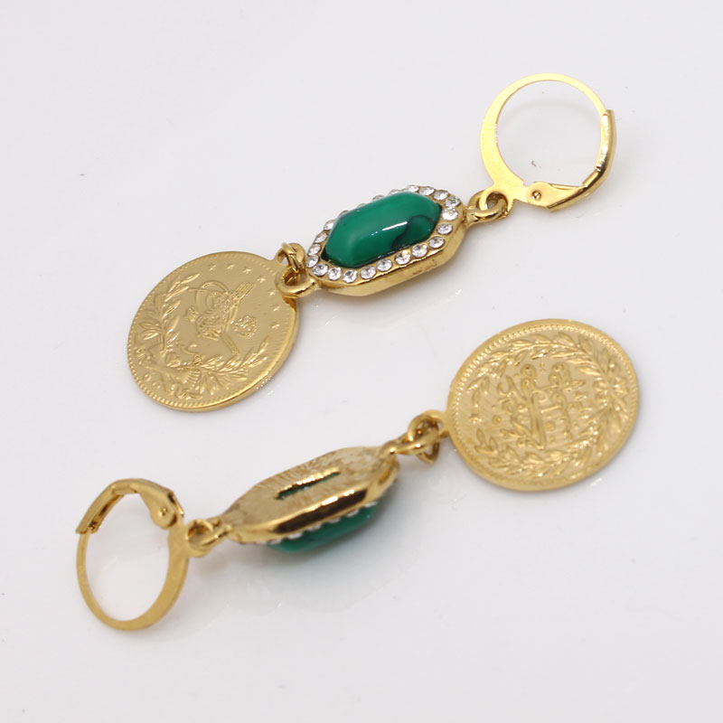 ZKD  islam Arab Coin Gold Color Turkey Coins Earrings muslim jewelry
