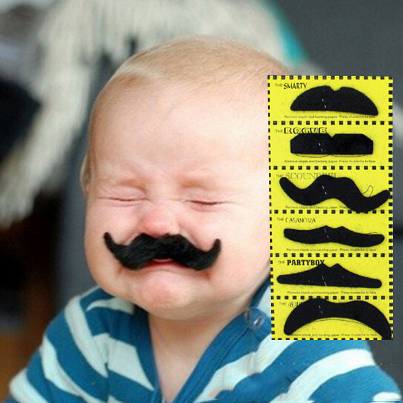 12pcs/set funny black fake beard wig mustache halloween costume party beards wigs hair face decoration kids children gifts