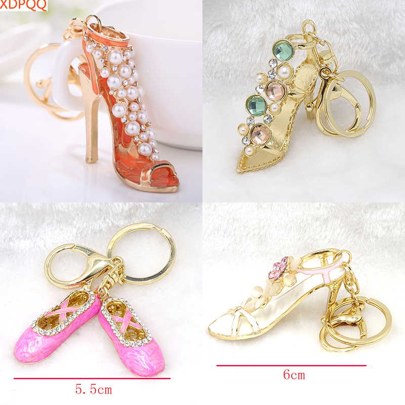 Fashion Keychain Ms. Pendant Sexy High Heel Keychain Alloy Openwork Stereo Style Painted Pearl Crystal Rhinestone Keyring