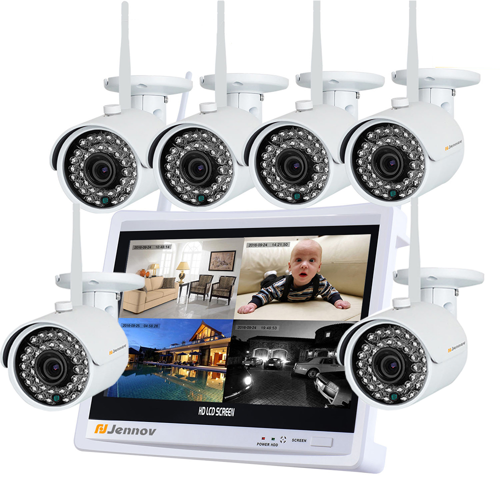 6CH 720P Wireless NVR LCD Monitor Outdoor Network Security CCTV IP Camera System Audio Camara wifi Video Surveillance Kits 10 lcd monitor wireless nvr with 4pcs 720p wireless camera make up wireless surveillance system easy instal and easy use
