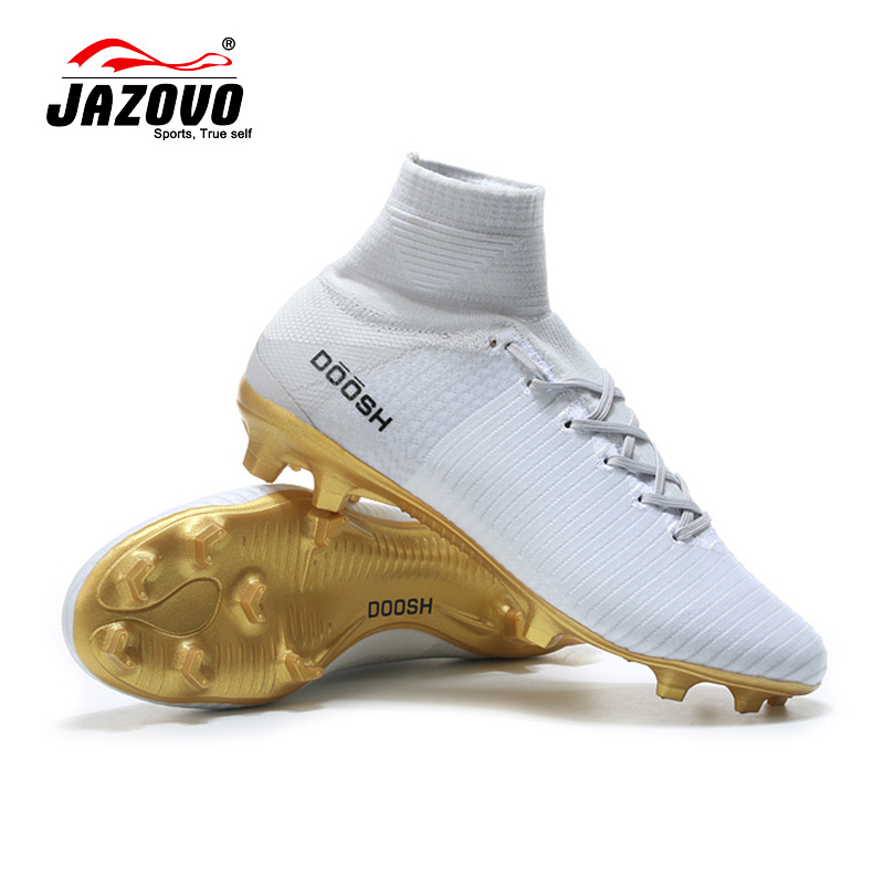 2017 Jazovo Soccer Shoes Mens Sport Superfly FG Football Boots Cushion Waterproof Sneakers White Color Size39-45 dr eagle original superfly football boots man football shoes with ankle soccer boots footbal shoes sock size 38 45 sneakers
