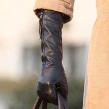 Фотография 2014 winter women black Genuine leather gloves long style sheepskin gloves warm elbow zipper leather gloves L031NQ