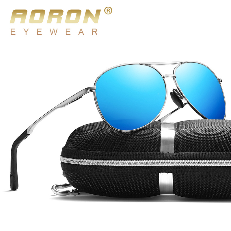 AORON New Polarized Men Sunglasses Classic Pilot Driving Sun Glasses Metal Frame Mirror Lens Sunglasses Men/Women