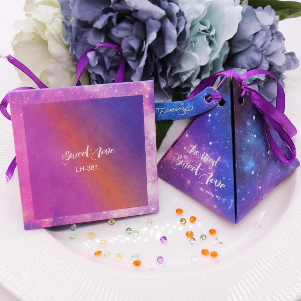 50 pcs/lot beautiful blue lovers candy box wedding paper small gift package for the  guest lovely storage paper box supplies