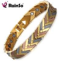 Rainso健康磁気ブレスレットバングルための女性ホット販売ステンレス鋼バイオエネルギーブレスレットゴールドファッションジュエリ