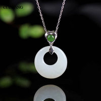 CSJ Natural Hetian Jade Pendants 925 Sterling Silver Engagement Rings For Women Wedding Party Gift Fine Jewelry