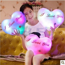 2016 Fast Shipping Led Light Pillow Party Toys Heart Shaped Kids Toys Birthday Gift 4 Color For Choose