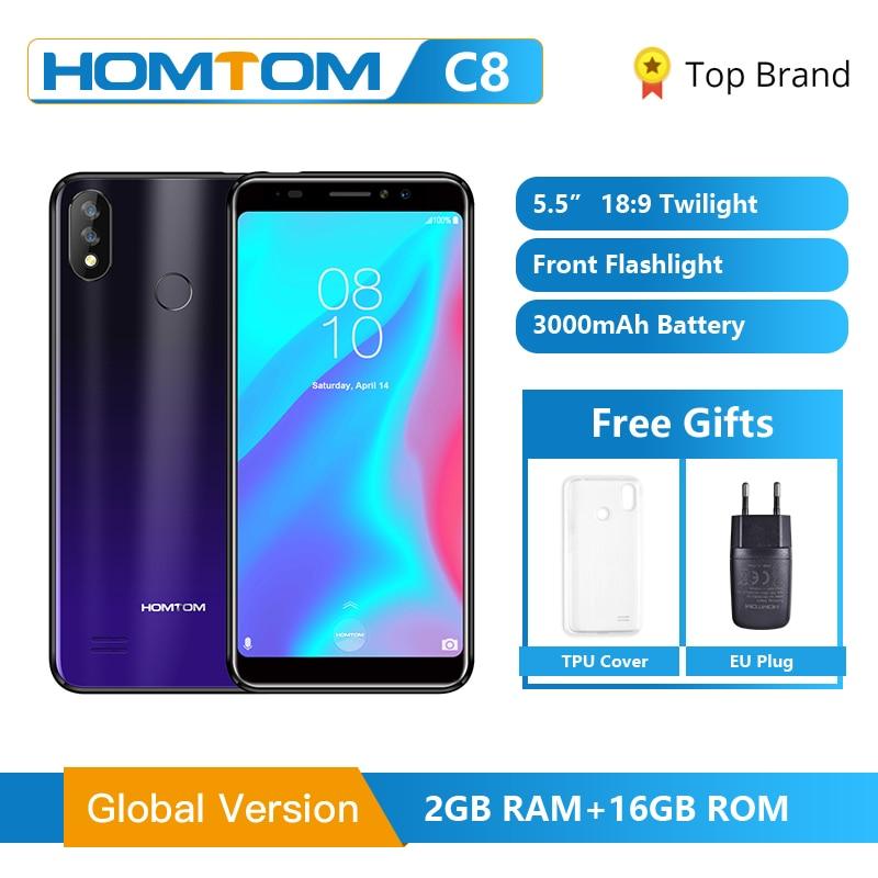 "Original Global HOMTOM C8 téléphone portable 5.5 ""Android 8.1 MT6739 Quad Core 2GB 16GB Smartphone visage déverrouillage empreinte digitale ID 4G FDD"