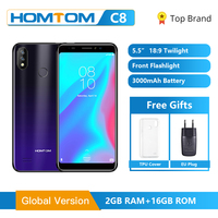 Original Global HOMTOM C8 Mobile Phone 5.5 Android 8.1 MT6739 Quad Core 2GB 16GB Smartphone Face Unlock Fingerprint ID 4G FDD