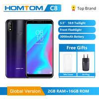 Originale Globale HOMTOM C8 Mobile Phone 5.5 Android 8.1 MT6739 Quad Core 2GB 16GB Smartphone Viso di Sblocco di impronte digitali ID 4G FDD