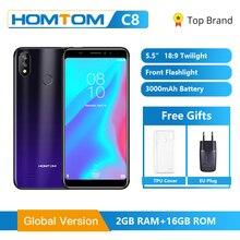 "Orijinal küresel HOMTOM C8 cep telefonu 5.5 ""Android 8.1 MT6739 dört çekirdekli 2GB 16GB akıllı telefon yüz kilidini parmak izi kimliği 4G FDD"