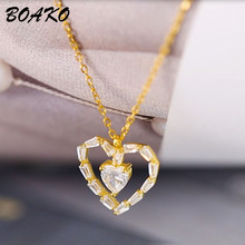 BOAKO Romantic Lover Heart Pendant Necklace for Women Real 925 Sterling Silver Zircon Crystal Wedding Party Jewelry