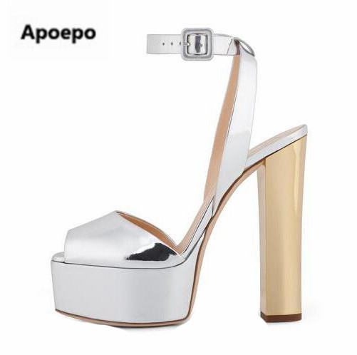 Apopeo Patent Leather/Sequins Platform Sandals Women Shoes Buckle Style Chunky High Heels Sandals Lady Block Heel Pumps hot sale shinny patent leather high platform stiletto buckle strap women sandals party dress nude black lady pumps high heel dress shoes