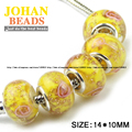 European Beads 5mm Big Hole Glass Bead 10pcs Fashion Charms Yellow Round Loose beads For Braclets Jewelry accessories making DIY