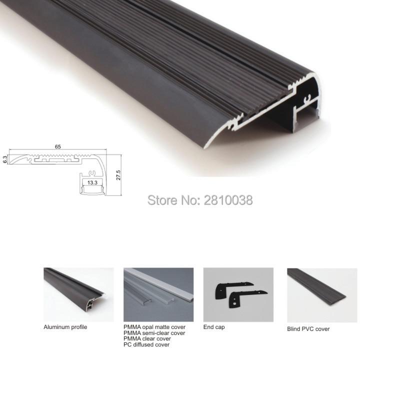 Juego de 100X1 M/lote de escalones de aluminio perfil led y perfil de canal led plano de acabado negro para iluminación de escaleras