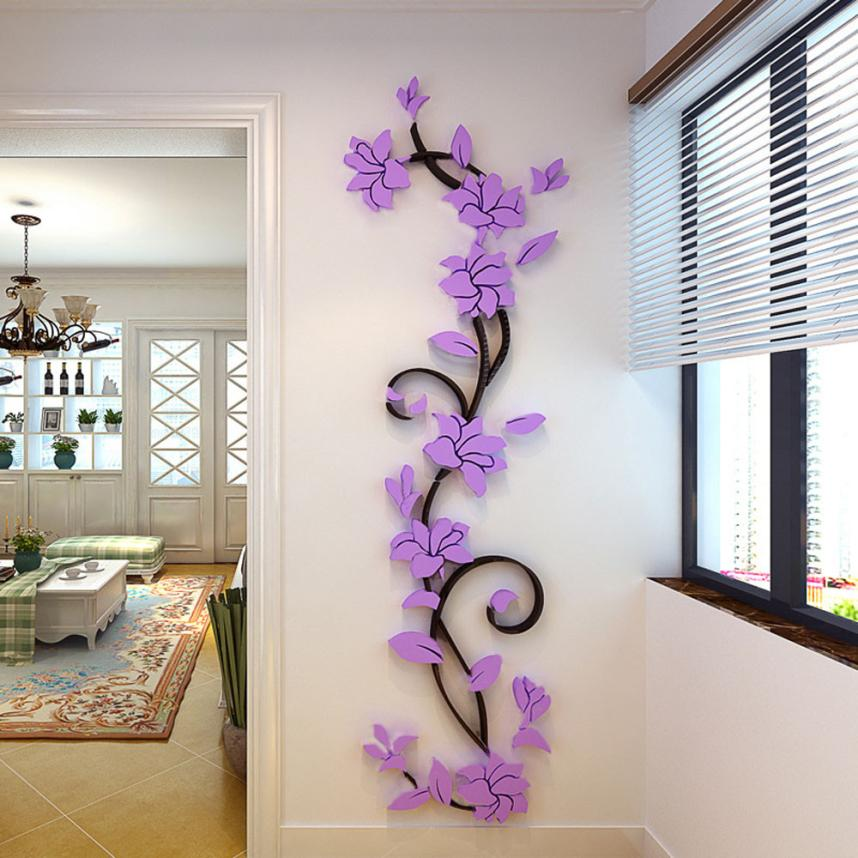 3D Vase Flower Tree DIY Removable Wall Decal For Living Room-Free Shipping 3D Wall Stickers Living Room tree wall decal