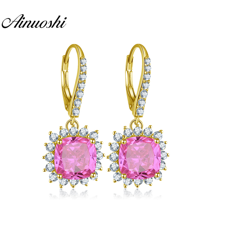 AINUOSHI 10K Solid Yellow Gold Drop Earring 7 Carat Cushion Cut Pink Color SONA Diamond Women Jewelry Gifts Click Back Earring pink solid color off shoulder crop bodycon sweaters vests