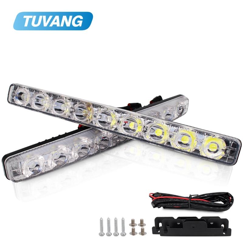 2x de alta calidad DRL luces de circulación diurna de coche luz del día automóviles Luz de niebla 9 LED a prueba de agua con cambiante, ámbar señal