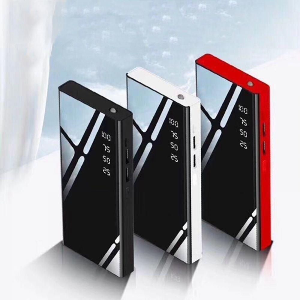 Горячее зеркало Powerbank зарядное устройство 20000 мАч LCDDual USB внешний аккумулятор для xiaomi iPhone X 8 7 6s huawei p20 lite