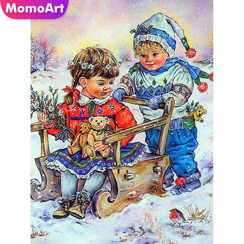 MomoArt Diamond Painting Child Snow Embroidery Full Square Rhinestone Mosaic Cartoon Home Decoration