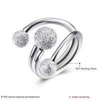 100% sterling silver matrimonio romantico classico delle signore dei monili 925 di modo frosted perline aperto sul ring R071