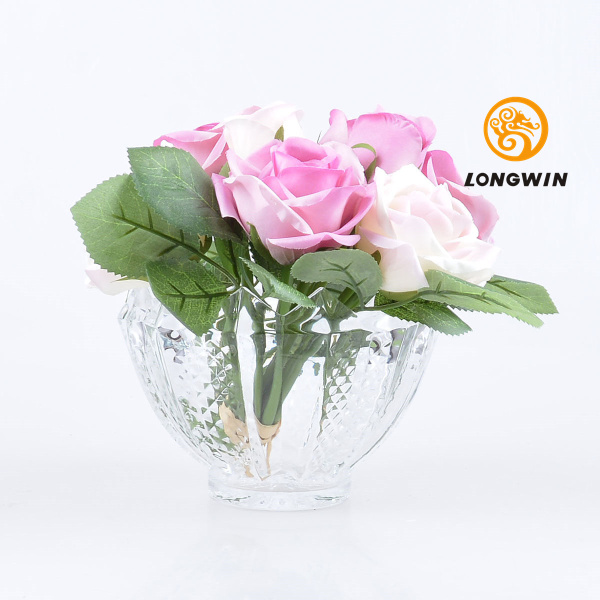 Longwin Clear Glass Vase 402h Rhombus Rose Bowl Gorgeous Home