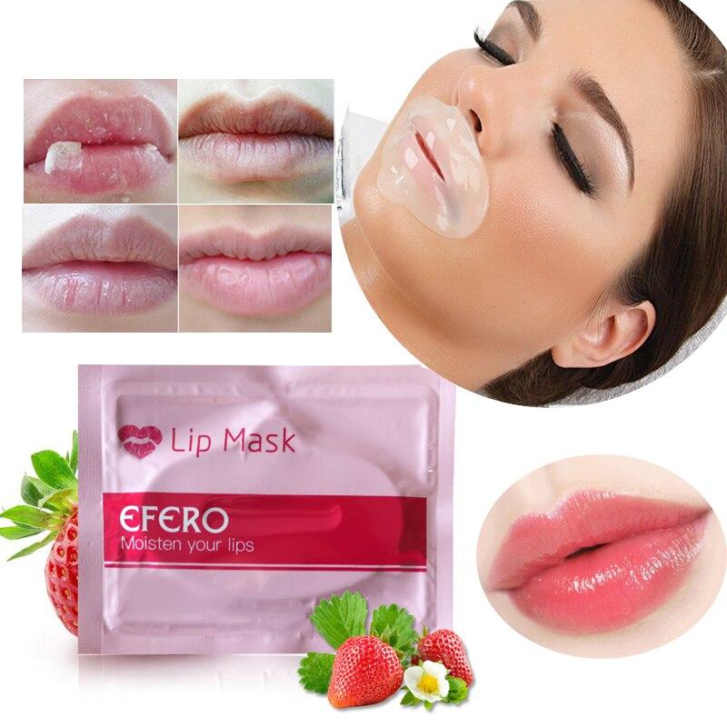 EFERO Colágeno Almofadas Máscara Lábio Bomba Patch para Os Lábios Plumper Lábio Manchas Hidratante Esfoliante Essencial Lábios Cuidados 3-15Packs