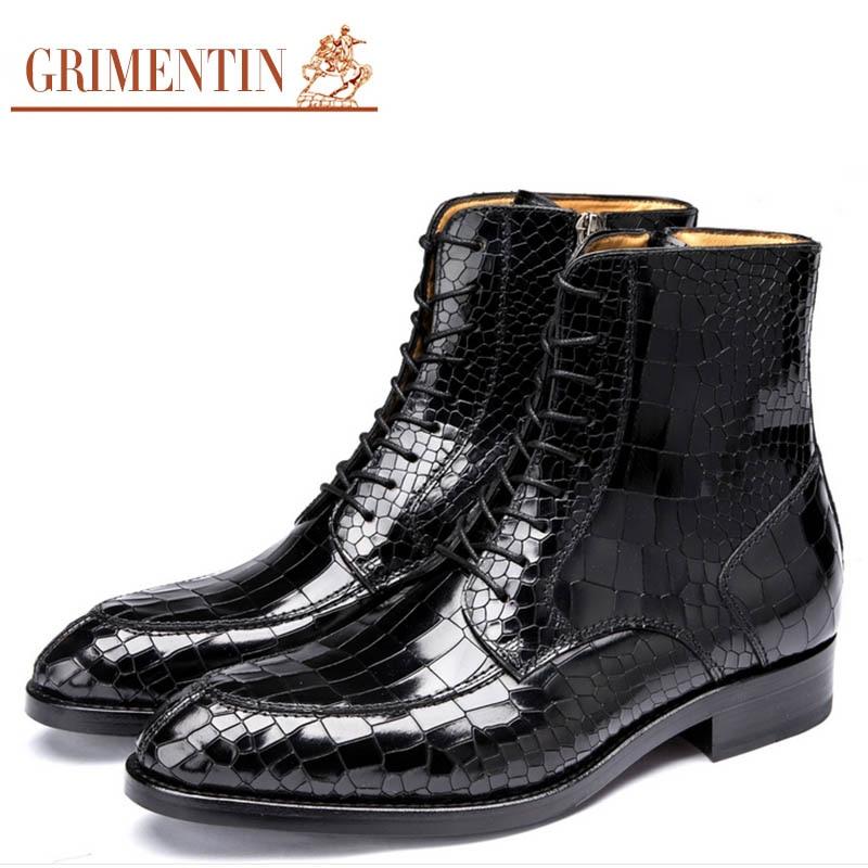 Luxo Homens Moda Handmade Boots Casamento Dos brown Grimentin Crocodile Couro Ankle Genuíno Marca De Para O Mens Vestido G17 Sapatas Personalizado Black qwECCpxa