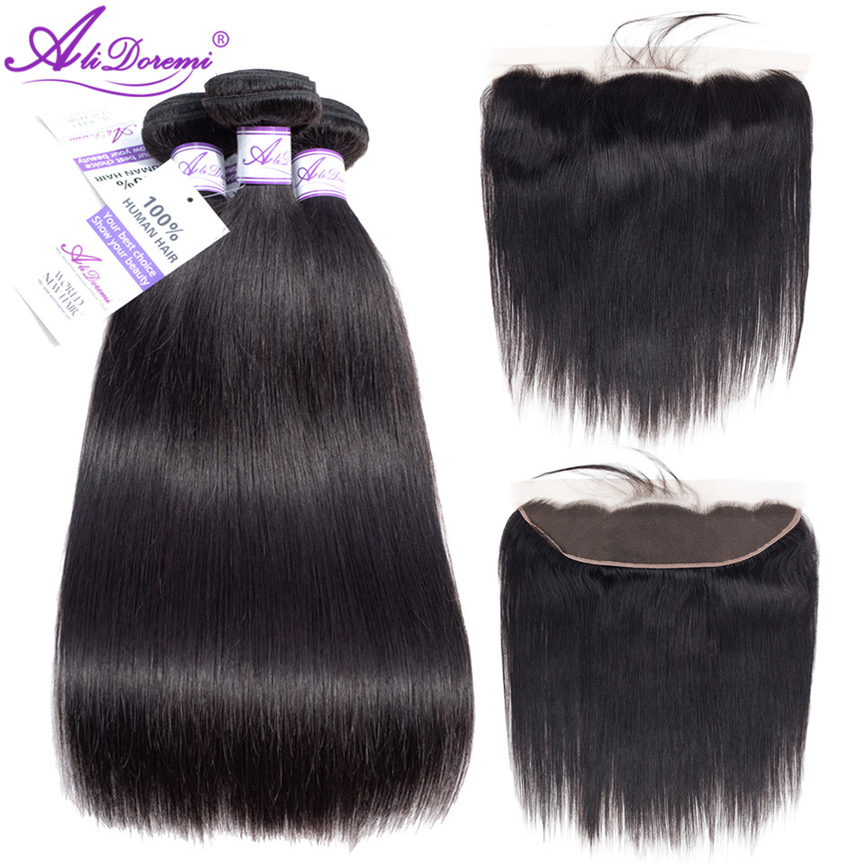 Alidoremi Brazilian Straight Hair 3 Bundles With Lace Frontal Closure Hair Weave Bundles Ear To Ear